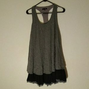 Beautiful Ryu Beaded Gray & Black Layered Dress S